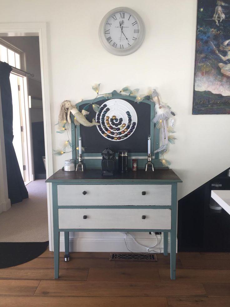 Vintage dresser turned coffee station