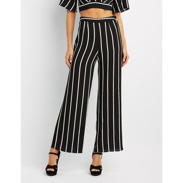 Charlotte Russe Striped Wide-Leg Pants ($27) ❤ liked on Polyvore featuring pants, black, high waisted wide leg pants, wide leg trousers, striped palazzo pants, high-waisted palazzo pants and high waisted trousers