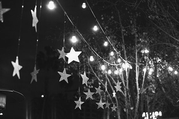 glittery stars hanging from twinkle lights. This is sort of what I picture for hanging from your ceiling- can we DIY?? @Sarah Wagner