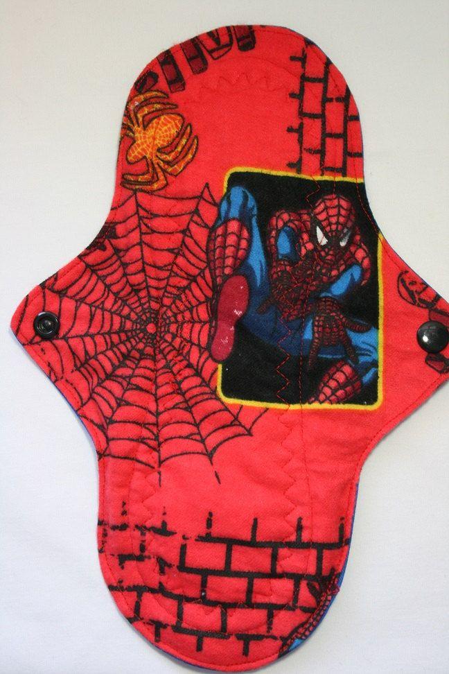Kiki Mama Cloth Menstrual Pad Size Regular Spiderman Web Red by Lupy4You on Etsy
