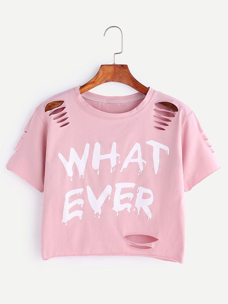 Camiseta corta con rotura con estampado de letra -Spanish SheIn(Sheinside)