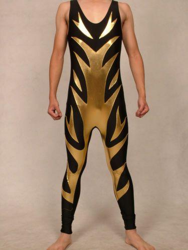 lycra-spandex-zentai-costume-wrestling-tights-pants-Black-Gold-size-S-XXL