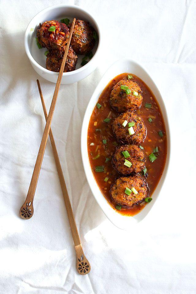 veg balls in hot garlic sauce recipe - indo chinese recipes