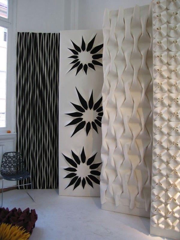 Akustische Wand Deko-Schwarz Weiß Blumenmuster Design