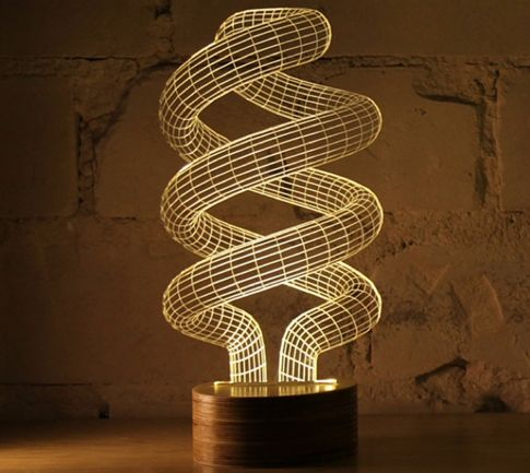 You MUST to watch this video to see for yourself just how cool this lamp really is! This 3D Spiral Night Lamp is a light like no other. Although your eyes may not believe it, the top section is actual