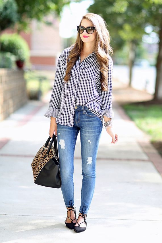 spring / summer - fall / winter - street style - street chic style - casual outfits - fall outfits - spring outfits - black gingham shirt + skinny jeans + black lace up flats + leopard print handbag + cat eye sunglasses: