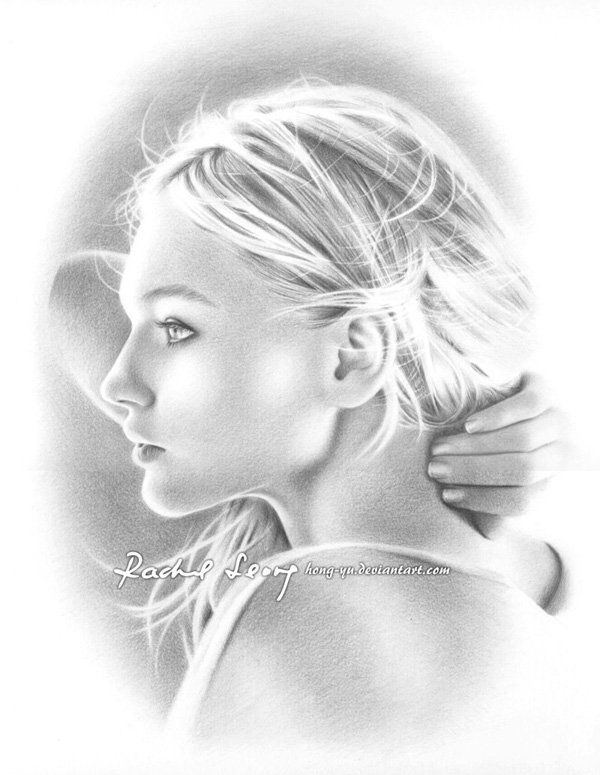 sasha pivovarova 1 by hong yu - Pencil Drawings by Leong Hong Yu