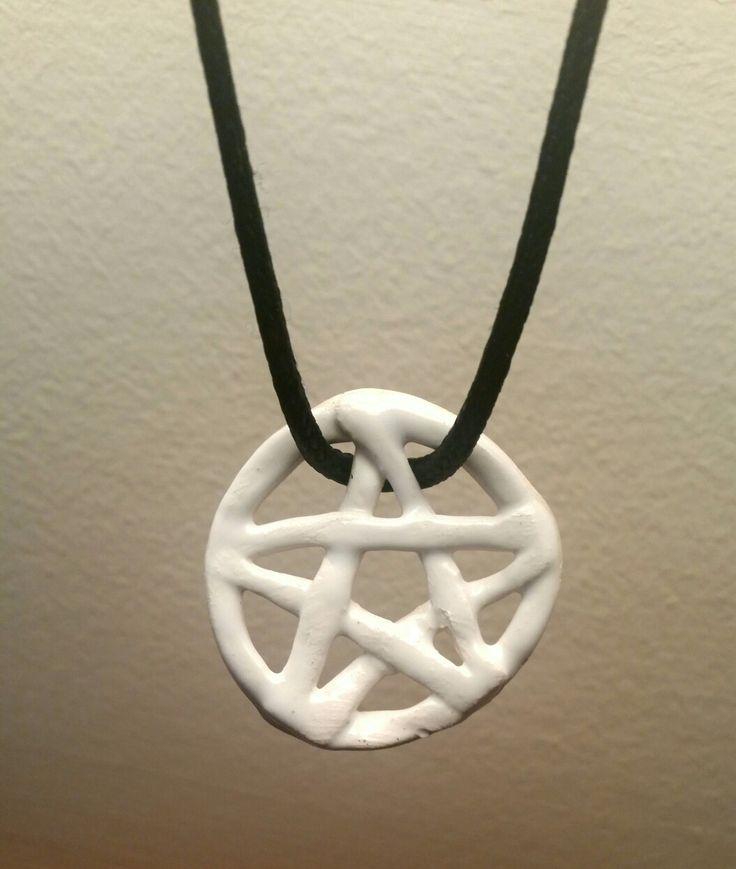 A ceramic necklace I made.