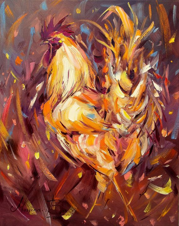 Money Rooster painting Cock Rooster art Bright painting