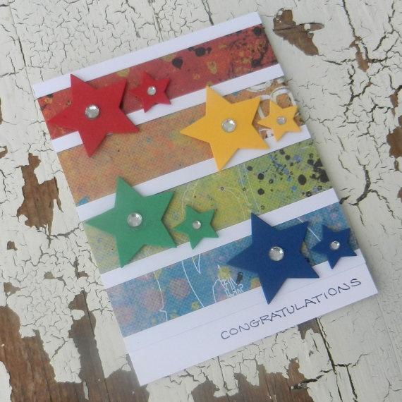 Handmade Graduation Greeting CardStars by EmbellishbyJackie ON ETSY.