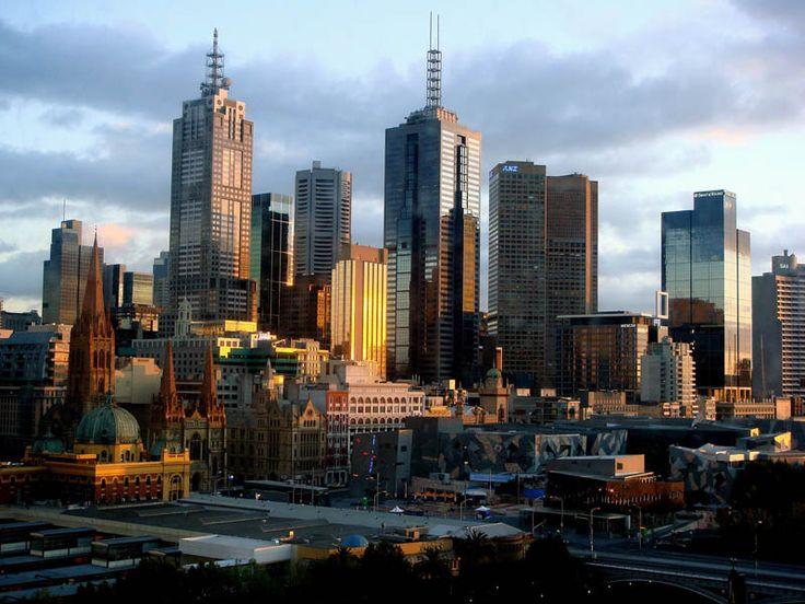melbourne australia skyline aerial