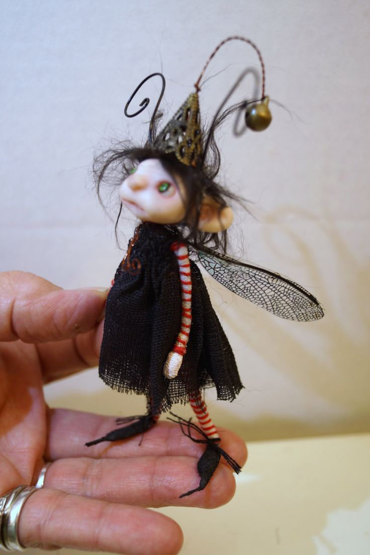ooak poseable little BUG FAIRY ( 75 ) pixie polymer clay art doll by DinkyDarlings by DinkyDarlings on Etsy