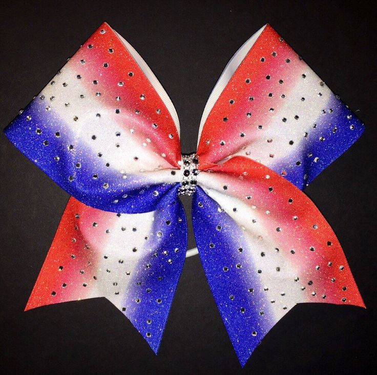 Sublimated Red, White and Blue Cheer Bow with Rhinestones by MommaTCheerBows on Etsy https://www.etsy.com/listing/267695852/sublimated-red-white-and-blue-cheer-bow