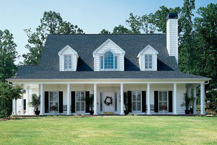 The Merrifield, plan 235 www.dongardner.com - Ready, set, grow with this lovely country farmhouse floor plan wreathed in windows and a covered wraparound porch. #Farmhouse #Porch #Dormers