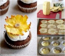 ananas dun snijden (zie foto) , even laten drogen en op het laatste even in de oven in een muffinbakvorm