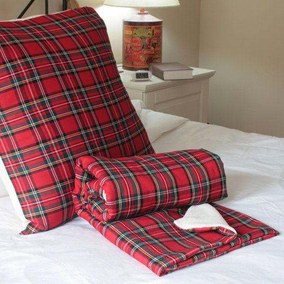 Manta y Cojín juego  tela escocesa Roja decoración por WIKIPILLOW
