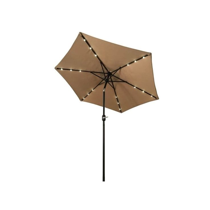 Aleko 9-foot Solar LED-lighted Tilting Outdoor Patio Table Umbrella, Tan (Polyester) #UMB9L18TN-AO
