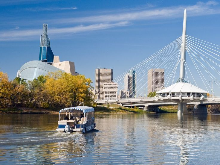 This brilliantly designed bridge across the Red River—its cables swirling from a single pylon—is a wonder on its own, and it's nearly rivaled by sunset-washed views of Antoine Predock's swooping, glass-paneled Canadian Human Rights Museum on the river's west bank.