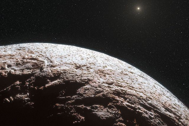 Artist's impression of Makemake, a dwarf planet roughly 2/3 the diameter of Pluto. ESO / L. Calçada / Nick Risinger (skysurvey.org)