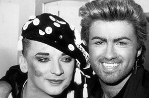Boy George with George Michael at a 1987 charity aids concert at Wembley Arena.