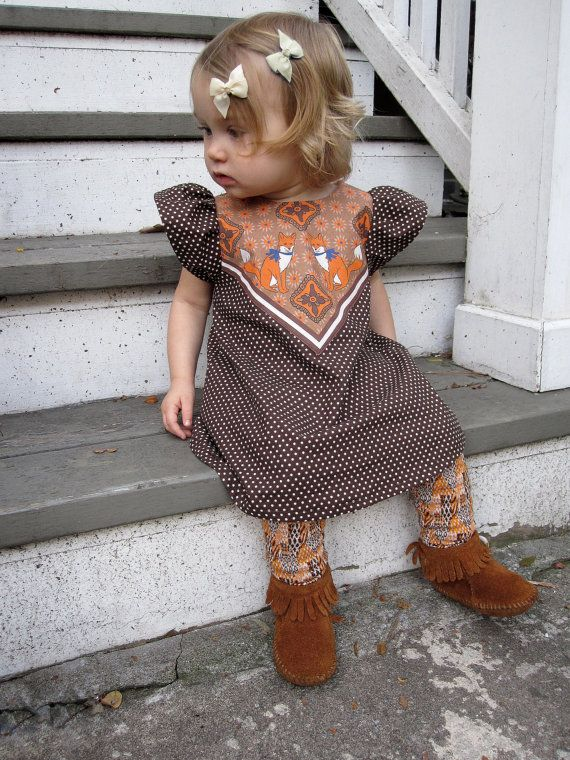 fox print polka dot dress baby toddler dress Supayana- brown. $39.00, via Etsy.