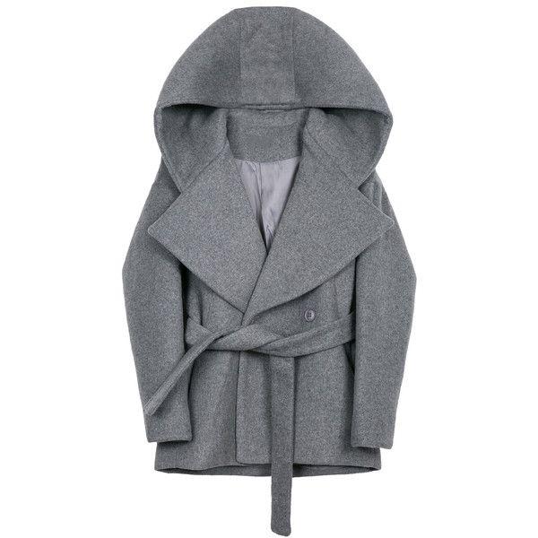 Caricature Pea Coat Indigo (1 335 PLN) ❤ liked on Polyvore featuring outerwear, coats, wool hooded cloak, wool coat, hooded wool peacoat, cloak coat and hooded cloak