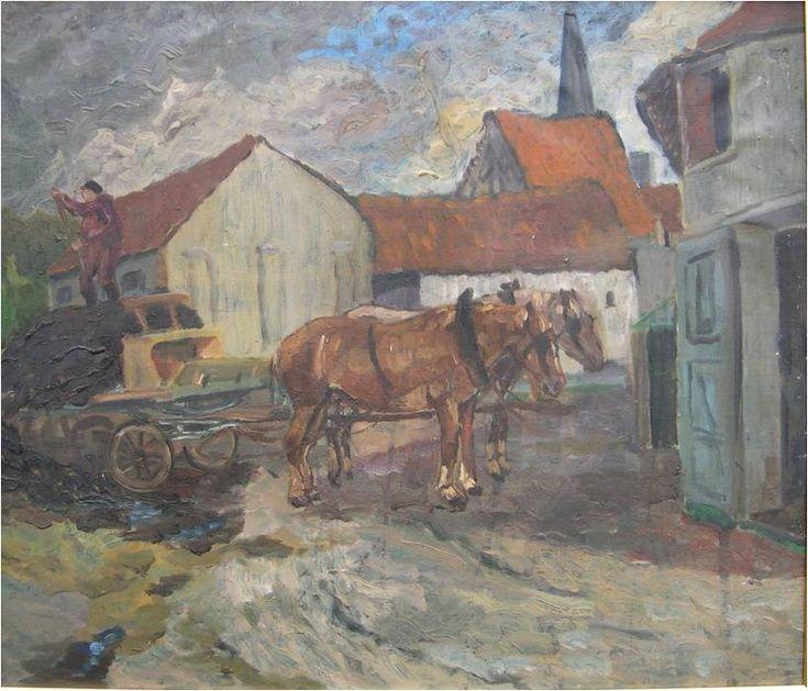 De binnenkoer van het pachthof.  Octaaf van den Tien staat op de kar die getrokken wordt door twee paarden : Pitoe, de grijze merrie, en Duk, de bruine gesneden hengst.  Rechts, de achterkant van de paardenstal.  Achteraan, het hoge dak van de schuur van Maria va Lorens met aan de rechterkant de schuur van Pee Stoöel en aan de linkerkant het karhuis. Helemaal achteraan ontwaren we de toren van de kerk. Schilderij van A. Van de Putte.