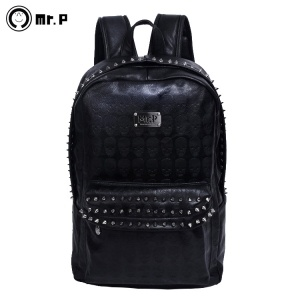 $168.00 The with Mr.P 2013 new shoulder bag men and European and American fashion the punk style backpack Female Korean tide rivet schoolbag PI