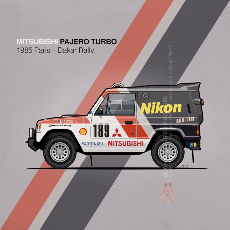 Mitsubishi Pajero Turbo Team Sonauto, Rally Paris-Dakar (1985) – The desert king: M Pajero Turbo at the 1985 Dakar Rally, with Patrick Zaniroli and Jean Da Silva making the #1st place. To date, the Pajero is the most successful vehicle in the Dakar Rally (winning its class 7 out of the last 10 races, and 15 of the full 32 races). Copyright 2016 Tom Mayer, Monkey Crisis On Mars – All Rights Reserved #MonkeyCrisisOnMars #Rally #Motorsport #JDM #OffRoad #4WD #Mitsubishi #80s #CarArt