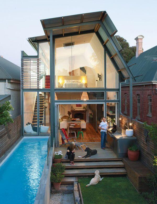 Desain rumah minimalis yg memanfaatkan halaman depan untuk kolam renang dan Tempat masak  #TheArsitektur