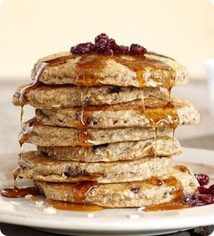 Blender Pancakes: 3/4 cup rolled oats (60g) 1 cup whole wheat flour (or all-purpose or Bob's gluten-free) (125g) (CCK Note: Vitamix's recipe does not call for this, but I'd recommend adding a pinch stevia or 2 tbsp sugar of choice) 2 tsp baking powder 1/2 tsp baking soda 1/2 tsp salt 1 1/2 cups milk of choice (360ml) 1/4 cup dried cranberries (30g) 2 tbsp raw sunflower seeds (15g)