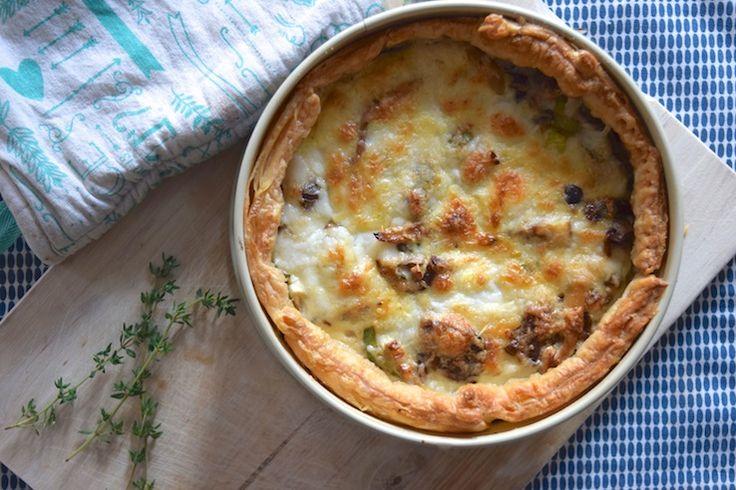Paddenstoelentaart. Deze vegetarische hartige taart is echt op en top herfst! #recept #diner #vega
