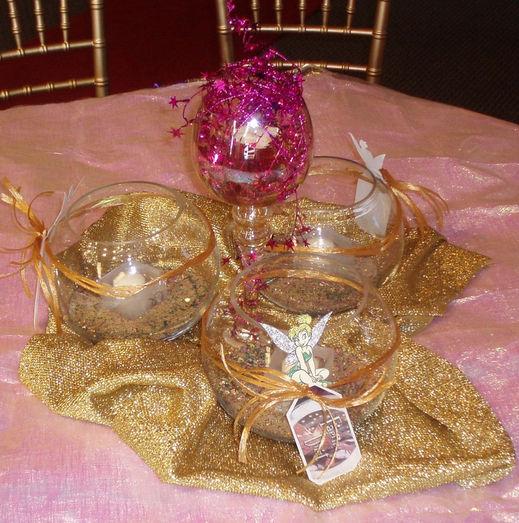 tinkerbell themed party centerpiece