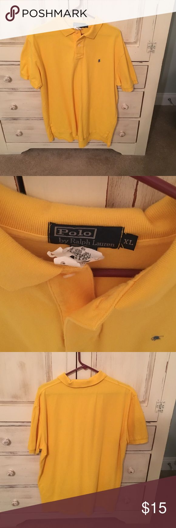 Men's short sleeve polo by polo Ralph Lauren Yellow short sleeve polo by polo Ralph Lauren. Lightly worn with no significant signs of wear- recently cleaned as shown on tag Polo by Ralph Lauren Shirts Polos