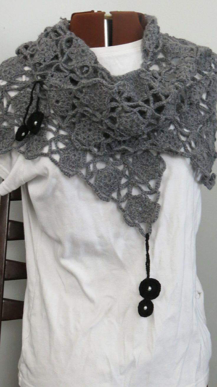 Evening Breeze Scarf/Shawl Crochet, 100% wool, soft and breezy