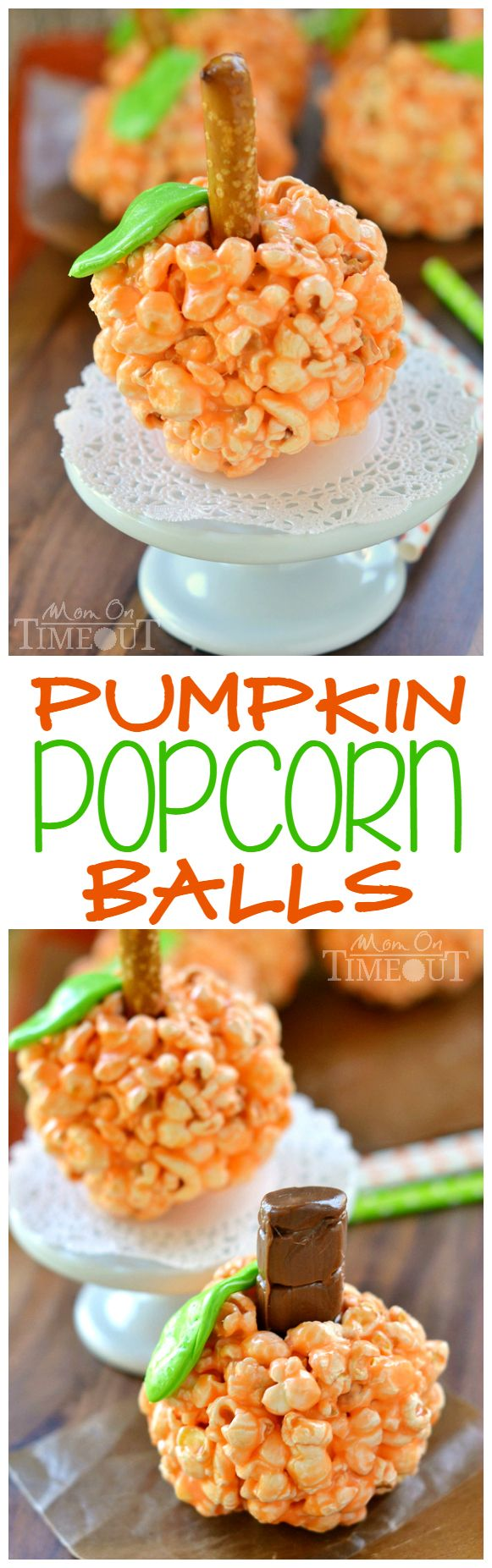 Fun and oh-so delicious, these Pumpkin Popcorn Balls are made with marshmallows for the ultimate soft and chewy treat! Perfect for Halloween and Thanksgiving! | MomOnTimeout.com