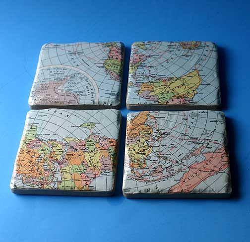 Vintage map Style Coasters   custom. $24.50, via Etsy.
