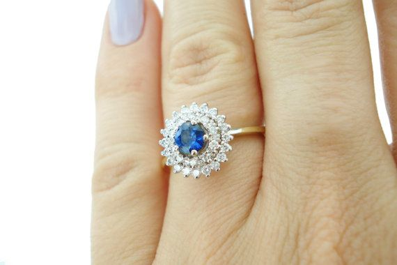 Holiday Sale Sapphire Engagement Ring Unique Sapphire by TANSO