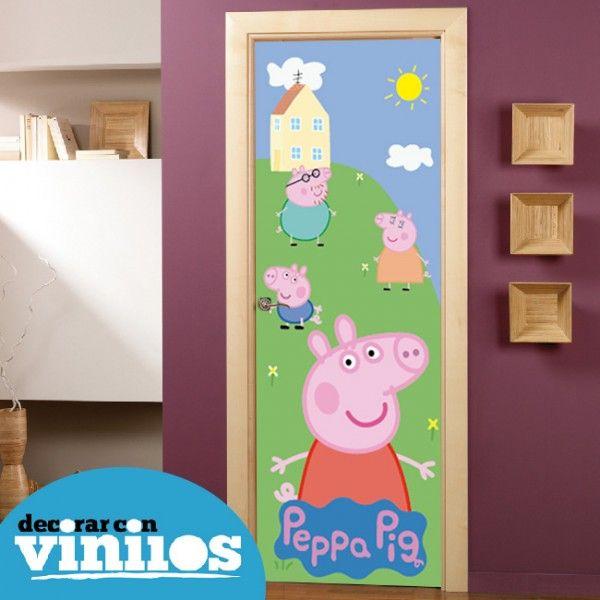Puerta infantil en vinilo de peppa pig proyecto adhesivo - Vinilos para armarios infantiles ...
