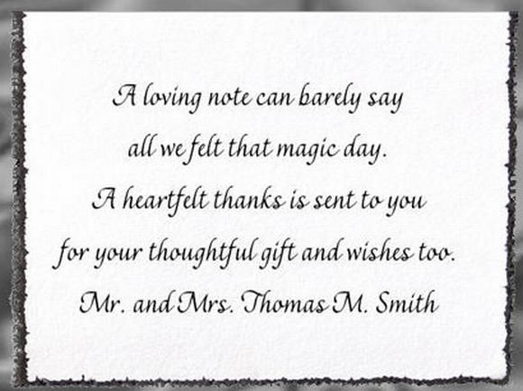 Sample Wedding Thank You Card Ideas