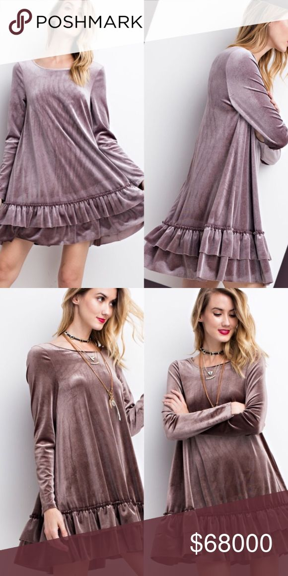Mushroom Velvet Double Ruffle Hem Dress COMING!!! Mushroom Velvet Double Ruffle Hem Dress  Available in Mushroom & Mauve Grey Price Is Firm No Trades Glamvault Dresses
