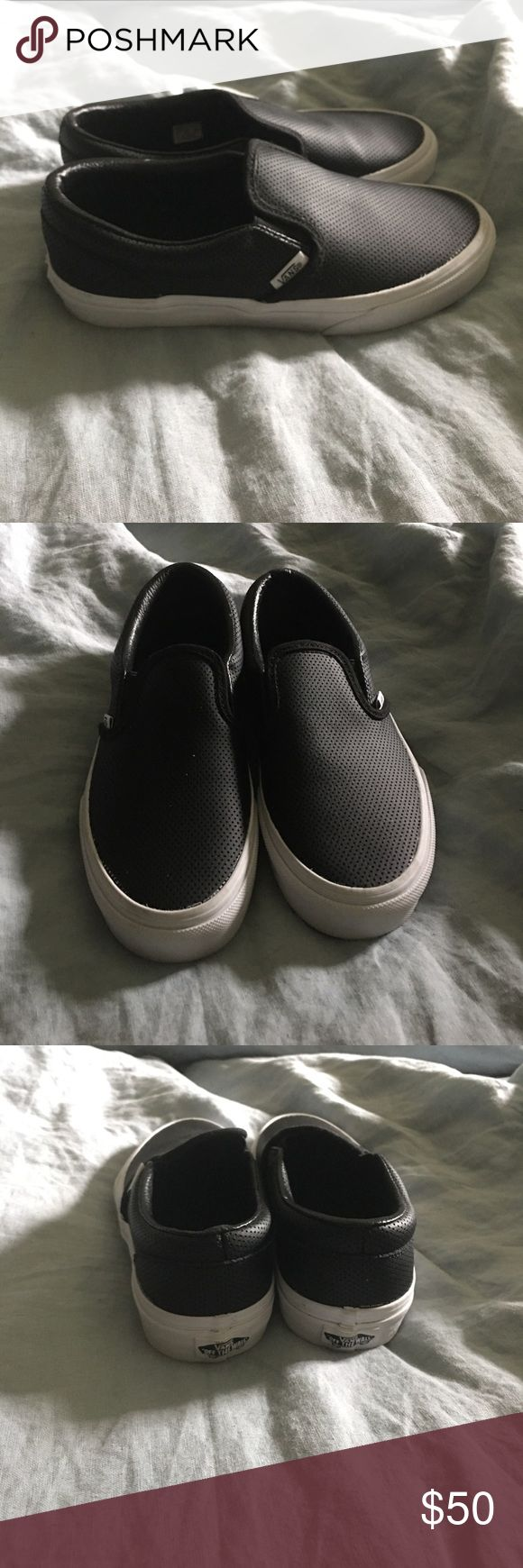 Black faux leather slip on vans Black faux leather slip on vans. Brand new never worn. Super cute they were just half a size too big for me. Vans Shoes Sneakers