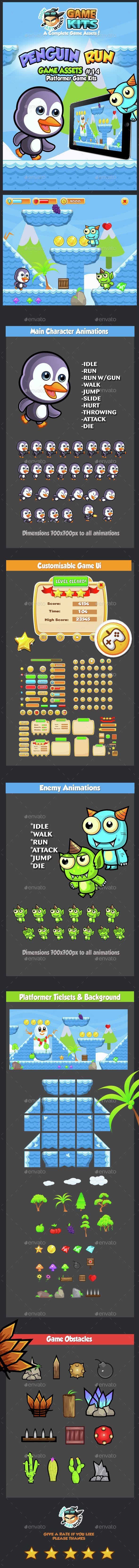 Penguin Run Platformer Game Assets 14 - #Game Kits Game #Assets Download here: https://graphicriver.net/item/penguin-run-platformer-game-assets-14/14778448?ref=alena994