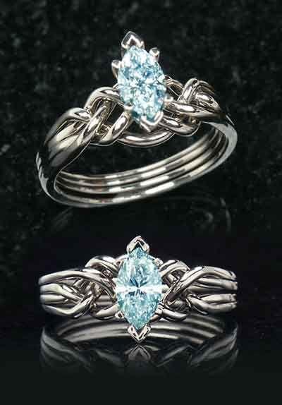 Celtic aquamarine engagement rings: Marquise aquamarine puzzle engagement ring