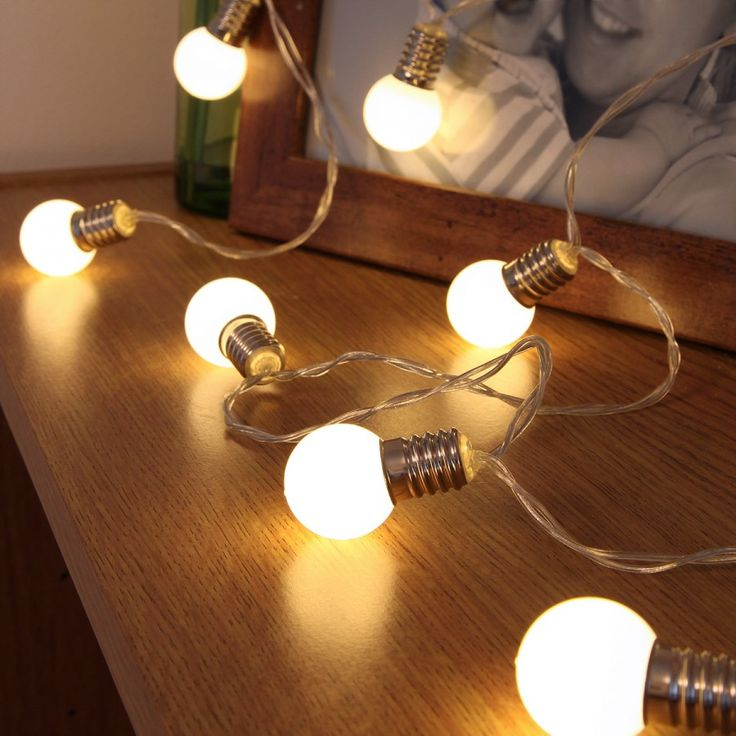 Fabulously bright mini light bulb #fairylights 10 Warm White LED Bulb Effect Battery String ...