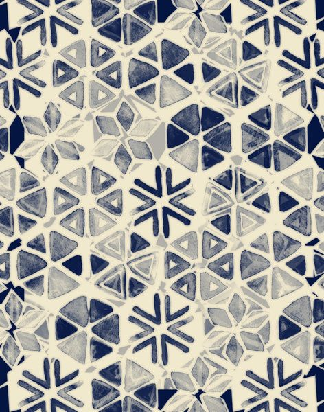 Hand Painted Triangle & Honeycomb Ink Pattern - indigo & cream Art Print #navy #pattern #watercolor #micklyn