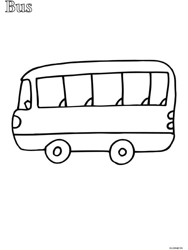 Kleurplaat Peuter kleurplaat bus - Kleurplaten.nl