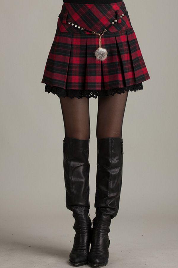 Plaid Pleated High Waist Skirt - OASAP.com
