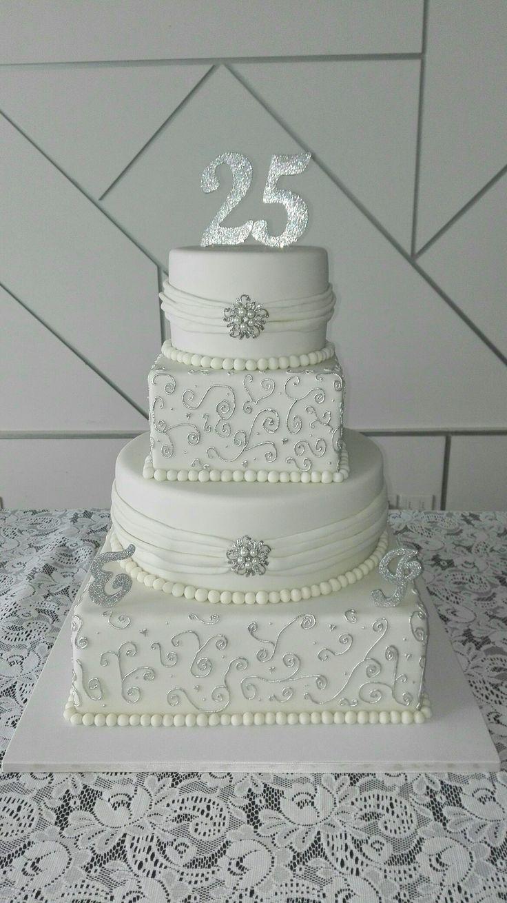 Torta bodas de plata. Silver cake.