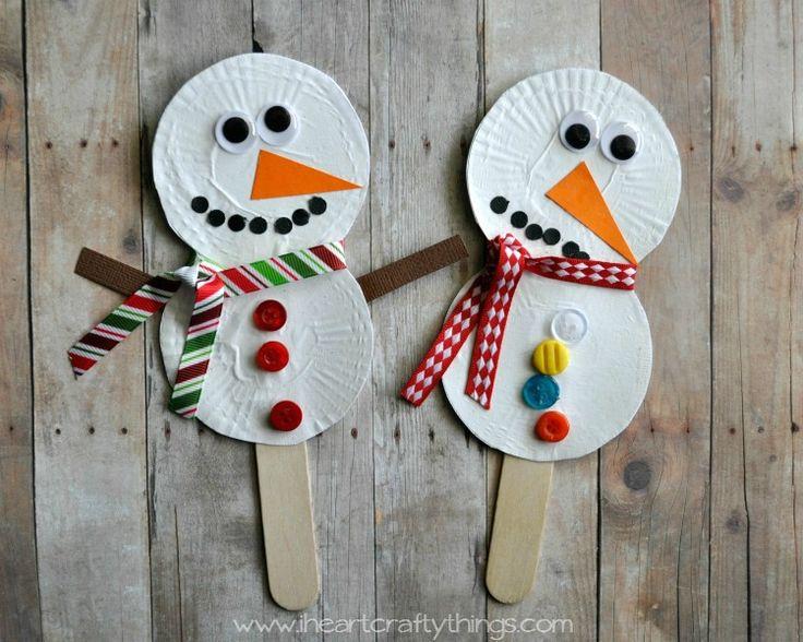 Snowman Stick Puppets - Winter craft for kids